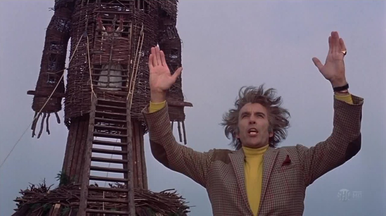 "Scena frå kultfilmen ""The Wicker Man"" (1973)."