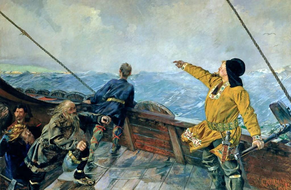 Leiv Eriksson uppdagar Amerika (målarstykkje av Christian Krohg).