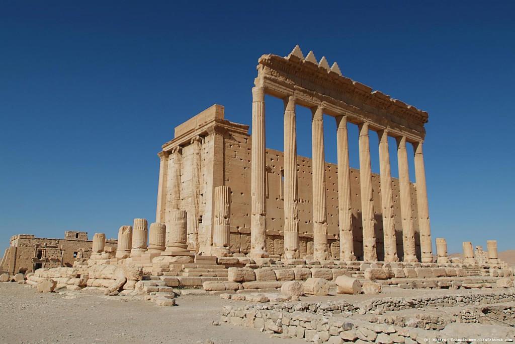 Bel-tempelet i Palmyra, slik det stod gjenom so mange hundradår. No er det sprengt i småbitar av ISIS.