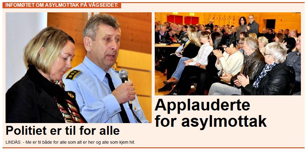 """""""Applauderte for asylmottak"""", heiter det i Strilen sin reportasje frå """"informasjonsmøtet"""". At det berre var eit mindretal av dei frammøtte som applauderte vert ikkje nemnt med eit ord."""