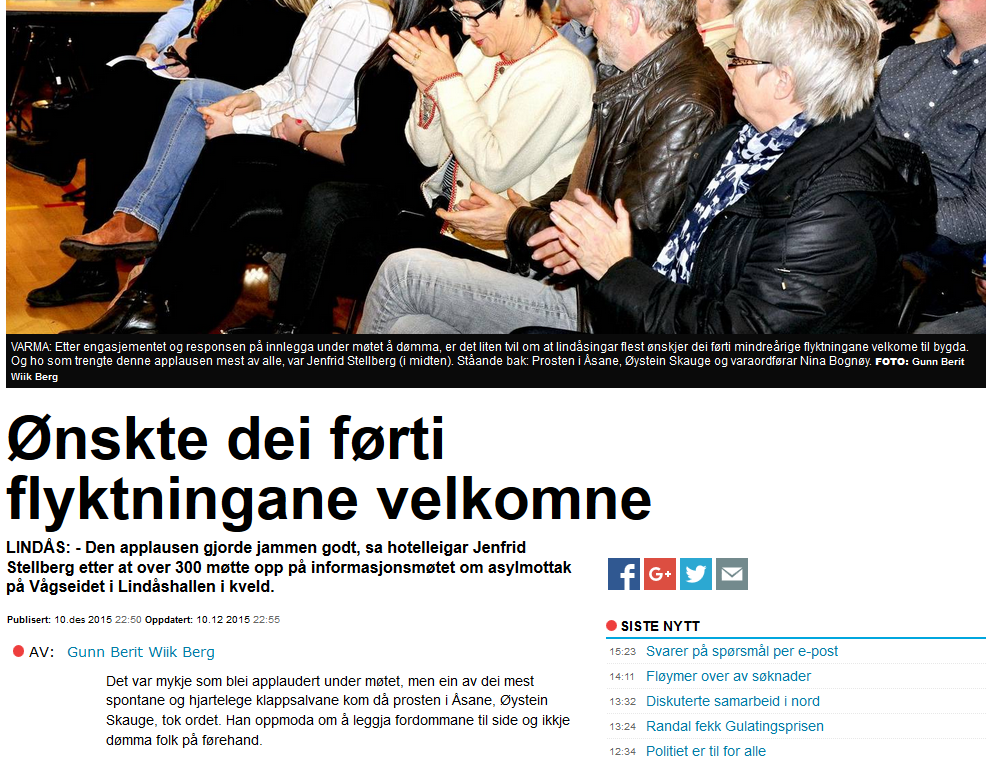 """Skjermbilæte frå Strilen sin reportasje um """"informasjonsmøtet"""" i Lindås."""