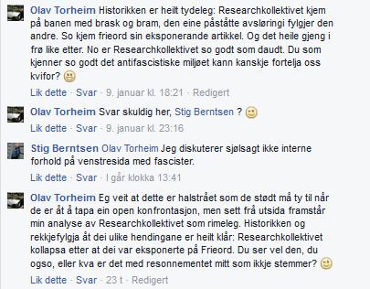 """""""Vi diskuterer ikke med fascister"""" = Stig Berntsen gjekk tom for argument."""