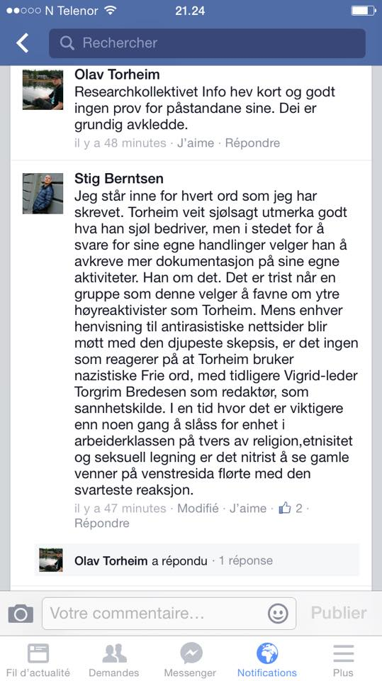 """OFFENTLEG AVKLEDD: Stig Berntsen vart konfrontert med skuldingane og spekulasjonane sine i ei Facebook-gruppa med meir enn 4000 deltakarar. Han hadde ingenting å syna til, men hevdar i eit raseriutbrot at """"Torheim veit sjølsagt veldig godt hva han sjøl holder på med..."""""""