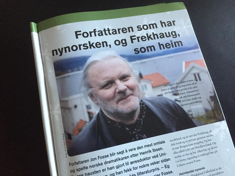 Jon Fosse, fersk vinnar av Nordisk Råd sin umtykte litteraturpris, vart nyss utspurd i MelandJul.