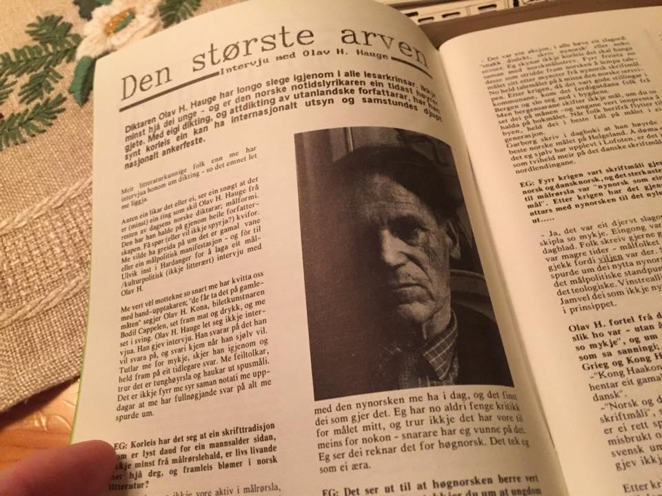 """Intervjuet med Hauge frå 1989, slik som det vart prenta i målungdomsbladet """"Eg""""."""