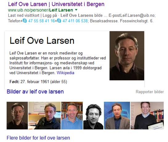 Leif Ove Larsen, andsvarleg redaktør for Vox Publica, styrer Institutt for informasjons- og medievitenskap. Torheim meiner at han held si vernande hand yver Kristian Bjørkelo si notorisk uetterrettelege skribentverksemd.