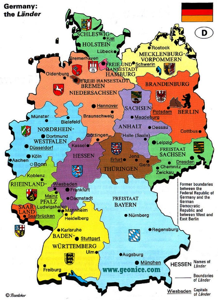 """Tyskland er tufta på ein føderal modell der ulike """"Bundesländer"""" hev eigne parlament, regjeringar og lovgjeving. Dei nasjonale styresmaktene hev ikkje andre andsvarsuppgåvor enn dei som eksplisitt er fastsette i grunnlovi."""