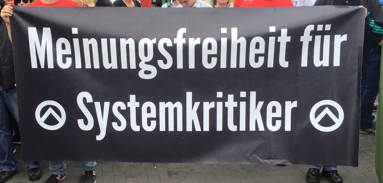 """""""Meininsfridom for systemkritikarar"""" (Foto: NPD-NRW)"""