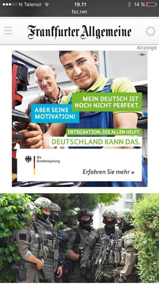 Kognitiv dissonans? Skjermdump frå Frankfurter Allgemeine den 23. juli.