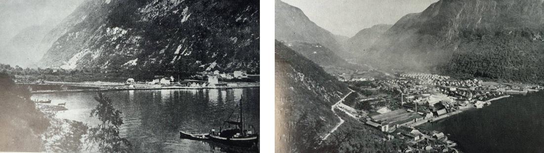 Høyanger fyre industrien kom (til vinstre) og Høyanger på 1950-talet (til høgre).