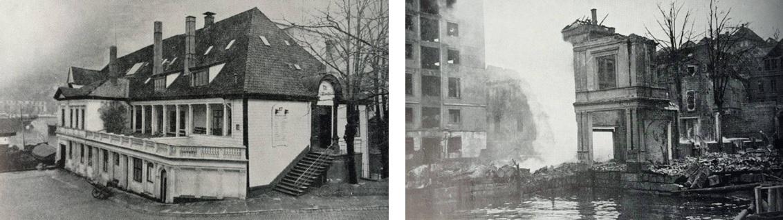 Eigedomen ved Petanebryggja fyre (vinstre) og etter (høgre) eksplosjonen i Bergen den 20. april 1944.
