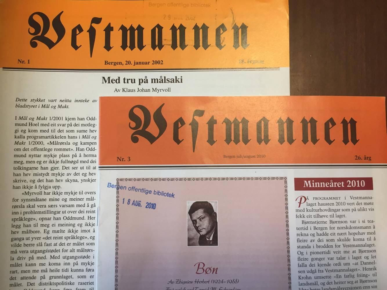 Øvst til vinstre: Det siste Vestmannen-nummeret fyre Marøy og redaksjonsmedarbeidarane hans vart sette på porten. Nedst til høgre: Det siste Vestmannen-nummeret som Kjell Kjerland redigerte - fyre Jon Askeland stogga prentingi av fleire nummer.