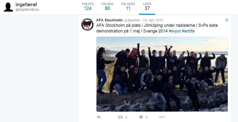 VALDELEG VINSTREEKSTREMISME: Anders Sebastian Leif Karlsson sympatiserar med Antifascistisk Aksjon, eit valdelegt ekstremistnettverk som hev gjort seg skuldige i grov vald og kriminalitet.