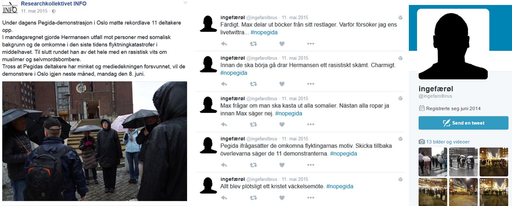 """SNIKFOTOGRAF: Under Twitter-dekknamnet """"Ingefærøl"""" hev Anders Sebastian Leif Karlsson rapportert og lagt ut snikfotografi frå Max Hermansen sine Pegida-demonstrasjonar i Oslo."""