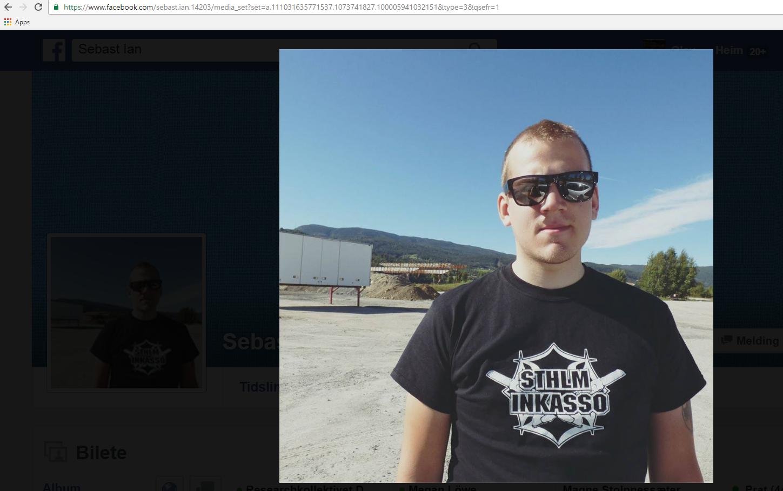 PROFILERAR SEG SOM CASUAL: Anders Sebastian Leif Karlsson er glad i den militante casuals-/ultras-klednaden (faksimilie frå Facebook-profilen Sebast Ian).