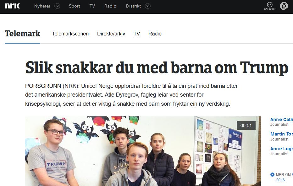 """Slik snakkar du med barna om Trump"". Faksimilie frå nrk.no, 9. november 2016."